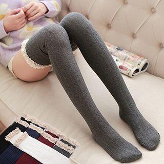 MEIA - Lace-Trim Knit Knee Socks