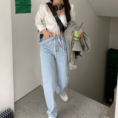 Magma - Long-Sleeve Square-Neck Blouse / Wide-Leg Jeans