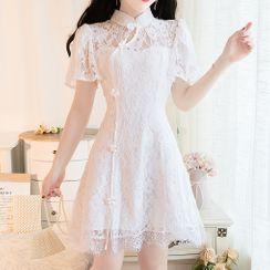 MePanda - Short-Sleeve Lace Mini A-Line Qipao Dress