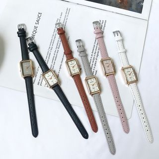 Teep - Faux-Leather Strap Rectangular Watch