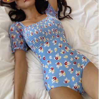 CUCURBIT - Elbow-Sleeve Floral Print Swimsuit
