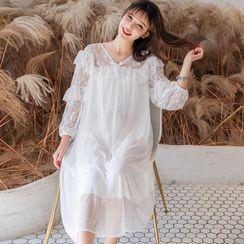 Ciambella - 蕾丝拼接长袖中身网纱睡裙