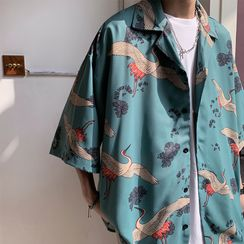 EOW - Crane Print Elbow-Sleeve/Long-Sleeve Shirt