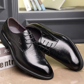 Kayne H - Grained Genuine Leather Lace-Up Derby Shoes
