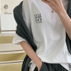 UPTOWNHOLIC(アップタウンホリック) - Letter Embroidery Cotton T-Shirt