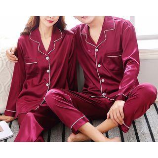 Voomer - Couple Matching Pajama Set: Long-Sleeve Shirt + Pants