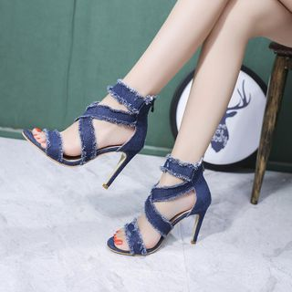 Edda - Denim High Heel Sandals