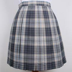 Sunnvale - Plaid Mini A-Line Skirt / Bow Tie / Neck Tie / Suspender