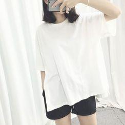 YOSH(ヨシュ) - Round Neck Boxy T-Shirt