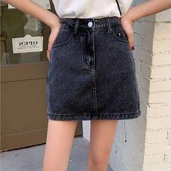 Sugamilkus - Denim Mini A-Line Skirt