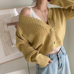 NANING9 - Cropped Waffle-Knit Cardigan