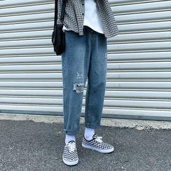 Real Boy - 破洞直筒牛仔裤
