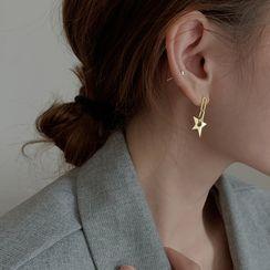 Metallique - Star 925 Sterling Silver Drop Earring