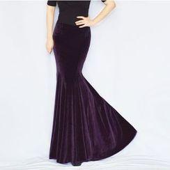 Oscuro - Velvet Mermaid Maxi Skirt