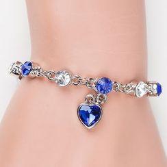 Cheermo - Rhinestone Heart Segment Bracelet