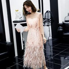 Sennyo - 3/4 Sleeve Mesh Panel Embroidered Fringed Cocktail Dress
