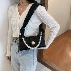 Bagtrix - Croc Grain Faux Pearl Strap Shoulder Bag