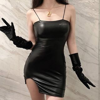 Berdal - Faux Leather Spaghetti Strap Mini Bodycon Dress