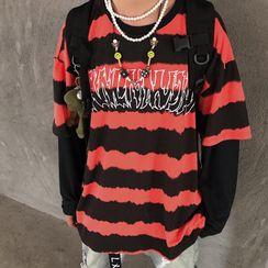 Banash - Mock Two-Piece Long-Sleeve Striped T-Shirt