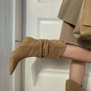 Gillaro - Genuine Leather Kitten-Heel Pointed Mid Calf Boots