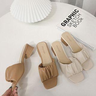 SouthBay Shoes - Block Heel Slide Sandals