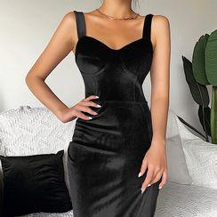 Alizio - Wide Strap Velvet Midi Sheath Dress