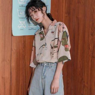 Marigolden - Face Print Elbow-Sleeve Shirt