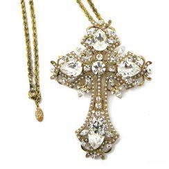 KATENKELLY - Rhinestone Antique Cross Necklace