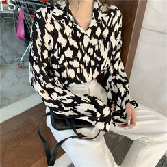 Tanee - Print Long-Sleeve Loose-Fit Shirt / Turtle-Neck Sweater / Plain Jeans