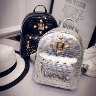 Perlin - Studded Faux Leather Backpack