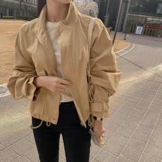 CHERRYKOKO - High-Neck Short Field Jacket