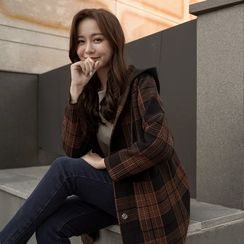 CLICK - Hooded Snap-Button Checked Coat