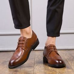 Goldtrench Shoes - Genuine Leather Lace-Up Brogue Shoes