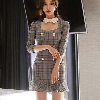 Dimanche - Elbow-Sleeve Ruffle Hem Plaid Mini Bodycon Dress