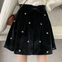 Dute - Faux Pearl Mini A-Line Skirt