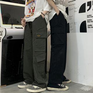 INStudio(インスタジオ) - High-Waist Applique Cargo Pants
