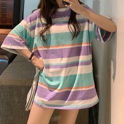 IndiGirl - Couple Short Sleeve Striped T-Shirt