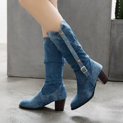 Shoes Galore(シューズガロア) - Low-Heel Denim Tall Boots