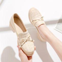 佳美 - 蝴蝶结粗跟乐福鞋