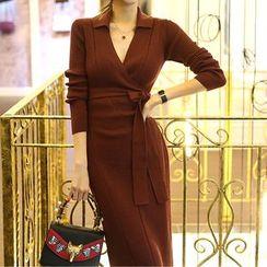 Cassidy(キャシディ) - V-Neck Long-Sleeve Knit Midi Sheath Dress