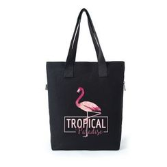 Lozynn - Flamingo Print Canvas Tote Bag
