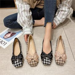 The Shoe House - Houndstooth Bow Accent Flats