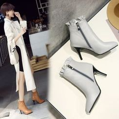 Shoes Galore(シューズガロア) - High Heel Pointed Short Boots