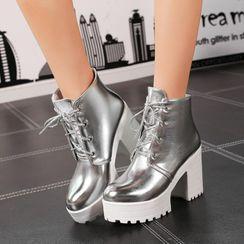 佳美 - 厚底粗跟系带短靴
