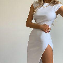 FYDO - Cap-Sleeve Slit Mini Bodycon Dress
