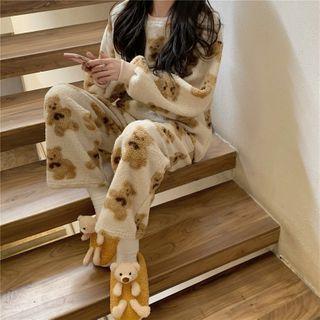Grendi - Long-Sleeve Printed Fleece Pajama Set