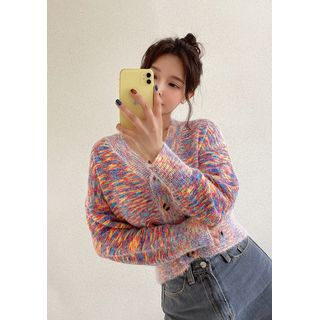 chuu - V-Neck Crop Rainbow Cardigan
