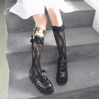 laceyleft - Lace Socks / Heart Hoop Studded Garter