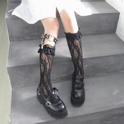 laceyleft - Lace Knee-High Socks / Leg Ring / Set