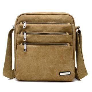 Golden Kelly - Canvas Triple Zipper Pockets Crossbody Reporter Bag